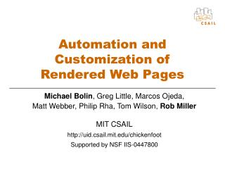 Automation and Customization of  Rendered Web Pages