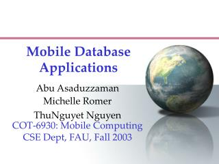 Mobile Database Applications