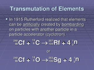 Transmutation of Elements