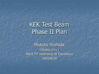 KEK Test Beam Phase II Plan