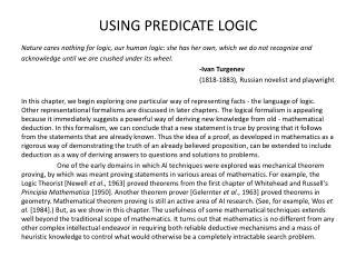 USING PREDICATE LOGIC