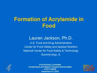 Formation of Acrylamide in Food