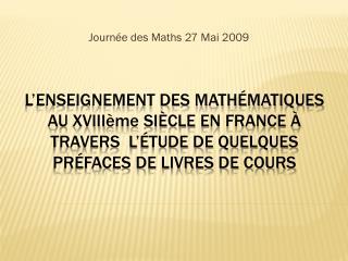 Journée des Maths 27 Mai 2009