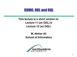 ODMG: ODL and OQL