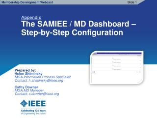 Appendix The SAMIEE / MD Dashboard –                  Step-by-Step Configuration