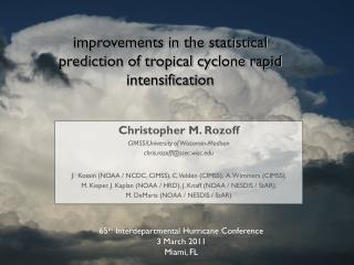 improvements in the statistical prediction of tropical cyclone rapid intensification