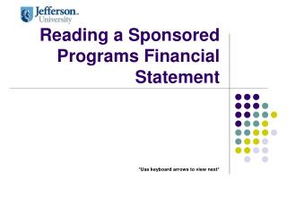 Reading a Sponsored Programs Financial Statement