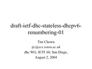 draft-ietf-dhc-stateless-dhcpv6-renumbering-01