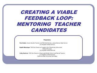 CREATING A VIABLE FEEDBACK LOOP: MENTORING  TEACHER CANDIDATES