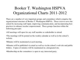 Booker T. Washington HSPVA Organizational Charts 2011-2012