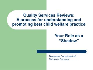 Quality Services Reviews: A process for understanding and promoting best child welfare practice