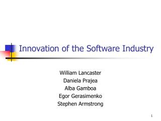 Innovation of the Software Industry