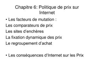Chapitre 6: Politique de prix sur Internet