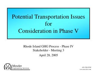 Potential Transportation Issues for Consideration in Phase V