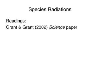 Species Radiations