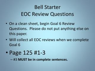 Bell Starter EOC Review Questions