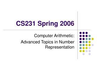 CS231 Spring 2006