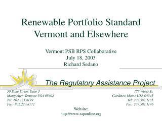Renewable Portfolio Standard Vermont and Elsewhere