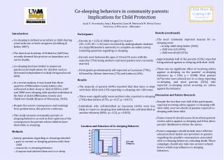 Co-sleeping behaviors in community parents: Implications for Child Protection