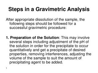 Steps in a Gravimetric Analysis