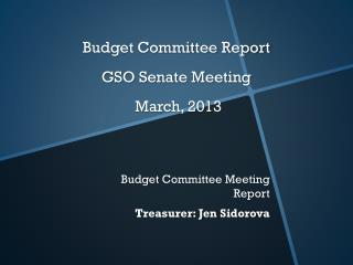 Budget Committee Report GSO Senate Meeting  March, 2013