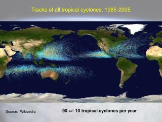 Tracks of all tropical cyclones, 1985-2005