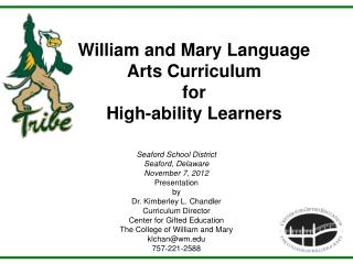 William and Mary Language Arts Curriculum for High-ability Learners