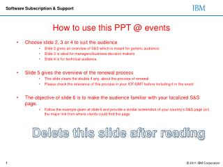 How to use this PPT @ events