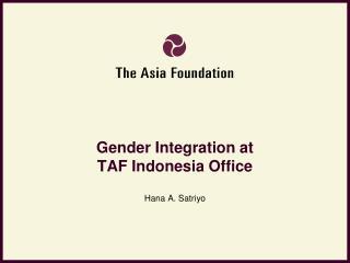 Gender Integration at  TAF Indonesia Office