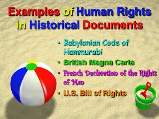 Examples of Human Rights  in  Historical  Documents