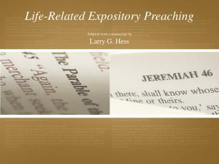 Life-Related Expository Preaching