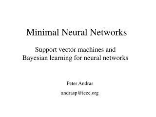 Minimal Neural Networks