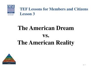 The American Dream  vs.  The American Reality