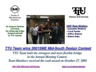 TTU Team wins 2001SME Mid-South Design Contest