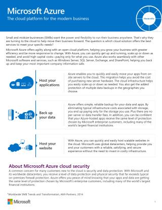 Microsoft Azure The cloud platform for the modern business
