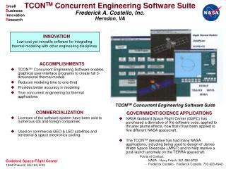 TCON TM  Concurrent Engineering Software Suite Frederick A. Costello, Inc. Herndon, VA