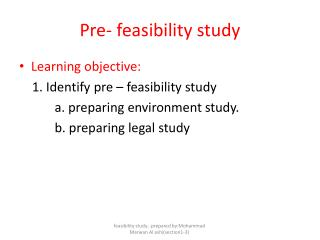 Pre- feasibility study