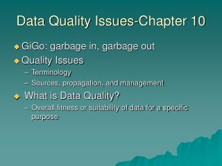 Data Quality Issues-Chapter 10