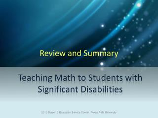 Teaching Math to Students with Significant Disabilities