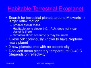 Habitable Terrestrial Exoplanet