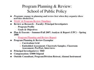 Program Planning & Review: School of Public Policy