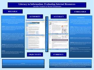 Literacy in Information: Evaluating Internet Resources Jennifer Fendrick & Nicole Christensen