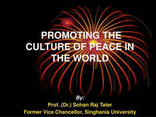PROMOTING THE CULTURE OF PEACE IN THE WORLD
