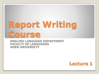 Report Writing Course