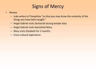 Signs of Mercy
