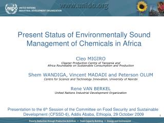 Present Status of Environmentally Sound Management of Chemicals in Africa