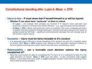 Constitutional standing after  Lujan & Mass. v. EPA