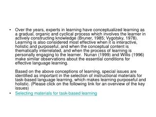 Selecting materials for task-based learning