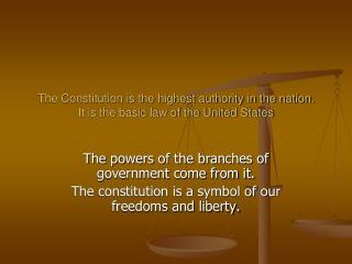 The Constitution is the highest authority in the nation. It is the basic law of the United States
