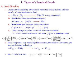 I.  Types of Chemical Bonds